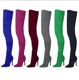 8bebcdc41fd Fitted over knee boots online shopping - Hot Selling Women Black Green  Suede Over The Knee