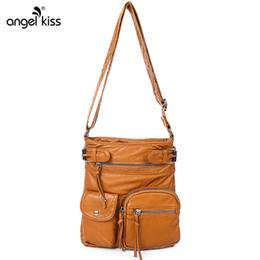 Washed Messenger Bag Australia - Multi Pocket Washed Leather Women Messenger Bags Satchel Shoulder Crossbody Bag for Women 2019 Sac a Main Ladies Hand Bags