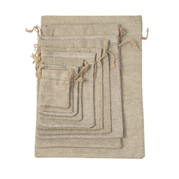 natural linen clothing NZ - 7x9cm double layer high quanlity natural linen drawstring bags jewelry pouch jute bags burlap Pouch package bags Gift hessian