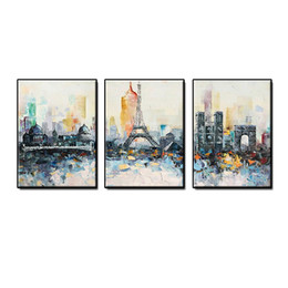 $enCountryForm.capitalKeyWord Australia - Beautiful abstract wall art home decor 3 pieces Hand-painted Eiffel Tower city building Oil Painting on canvas for living room no framed