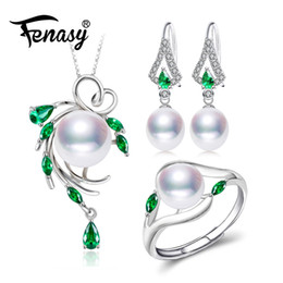 $enCountryForm.capitalKeyWord UK - Fenasy 925 Sterling Silver Jewelry Sets For Women,emerald Drop Earrings,natural Pearl Pendants&necklaces Engagement Ring Set MX190713