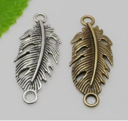 Leaf Connector Wholesale Australia - 100Pcs Antique Silver Feather leaf Connectors Pendant Charms For necklace Jewelry Making findings 14x35mm