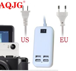 Discount usb hub powered charger - 4 Port USB Hub Desktop Wall Charger AC Power Adapter EU Plug US Plug Slots Charging Extension Socket Outlet With Switche