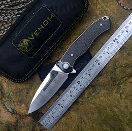 $enCountryForm.capitalKeyWord Australia - VENOM New Kevin John BONE DOCTOR Knives M390 Blade Titanium+ CF Handle Flipper Folding Knife outdoor camping hunting survival pocket knife