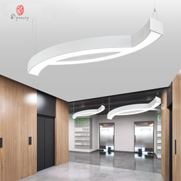 shop lights NZ - Aluminum Irregular Hanging Lights Office LED Ceiling Light Premium Conference Hall Meeting Room Shop Luminous Decoration Fixture Free Ship