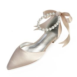 satin shoes pearls UK - Comfort Flat Satin Women Shoes Pointed Toe Ankle Strap Pearls Ribbon Formal Prom Evening Wedding Party Dress Flats Y200702