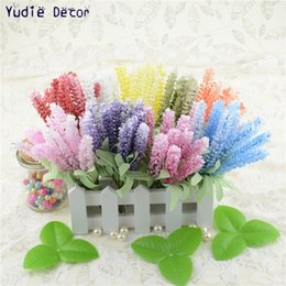 Flowers For Wedding Car Decoration Australia - 10pcs Foam Lavender Artificial Flowers Bouquet For Wedding Car Home Decoration Mariage flores artificiales Rosa Flowers Plants