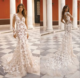 China Sexy Sheer Long Sleeve Lace Wedding Dresses Mermaid Appliques Tulle Edge Long Bridal Gown 2019 New Custom Made supplier edges trumpet suppliers