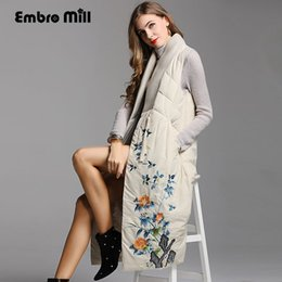 chinese coat l NZ - Chinese style royal embroidery coat women autumn & winter vintage lady cotton ramie blue Beige vest coat Parkas female L-XXL