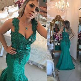 $enCountryForm.capitalKeyWord Australia - Dark Green Arabic Lace Dresses Evening Wear 2018 Spaghetti Appliques Pearls Mermaid Sweep Train Formal Prom Party Special Occasion Gowns