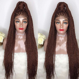 Auburn medium length wigs online shopping - Top Selling High Density Braided Lace Front Wigs Box Synthetic Fiber Wigs Thick Full Hand Twist Synthetic Hair Micro Havana Twist Wigs
