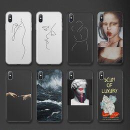 iphone abstract Australia - Phone Case Cartoon Lovebay For iPhone 6 6s 7 8 Plus X XR XS Max 5 5s SE Statue Abstract Art Painted Soft TPU Shell For iPhone X