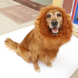 Hair accessories packaging online shopping - Halloween Animal Jewelry Fashion Pet Lion Head Dog Wig Golden Hair Samoa Dog Headdress Hat Package