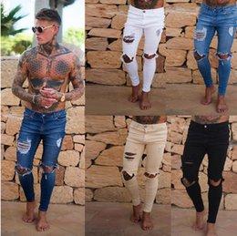 Großhandel 2019 kostenloser versand top mens kleidung designer jeans zerrissene vintage denim hosen schwarz blau weiß bleistift hosen kleidung