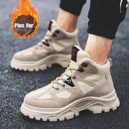 Black high ankle shoes for men online shopping - GNOME Retro Winter Plus Warm Velvet Plush Fur High Top Shoes Men Tooling Boots Men Shoes Patchwork Ankle Boots For Male Ayakkabi