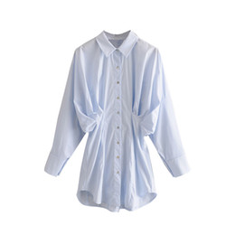 Wholesale white batwing blouse resale online - Solid Casual Blouse For Women Fashion Batwing Long Sleeve Pleated Shirts Loose Turn Down Collar Office Blouses Top