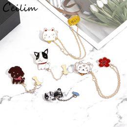 $enCountryForm.capitalKeyWord Australia - Popular Cartoon Cat Fish Dog Bone with Chain Brooches Fashion Animal Enamel Pin Shirt Jackets Collar Button Badge Pin Bijoux Brooch Gift