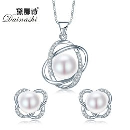 $enCountryForm.capitalKeyWord Australia - Top Quality Trendy Cross 925 Sterling Silver Jewelry Sets Pendant Necklace & Earring Big Pearl Pendant Earrings For Women Gift T190626