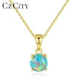 $enCountryForm.capitalKeyWord NZ - CZCITY Pure 925 Sterling Silver Necklaces for Women Colorful Round Fire Opal Pendant Necklace Exquisite Jewellery Christma Gifts