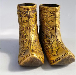 $enCountryForm.capitalKeyWord Australia - Antique pure copper dragon and phoenix Chengxiang boots dragon shoes step by step high rise pen shoes shoes incense burner craft decoration