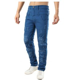 $enCountryForm.capitalKeyWord Australia - Men Hole Casual Jeans Skinny Slim Fit Double Waist Designer Distressed Ripped Destroyed Stretch Cotton Denim Pants Dropshipping