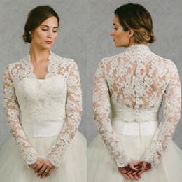 $enCountryForm.capitalKeyWord Australia - 2019 New High V Neck Wedding Lace Appliques White Ivory Jackets Long Sleeve Bridal Wraps Shawl Shrug Custom Made Jacket
