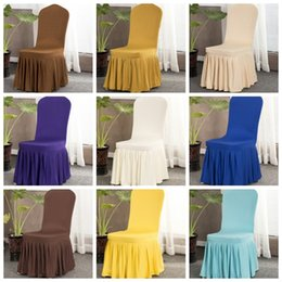 Wholesale Chair Slipcovers Australia - Spandex Chair Covers Elastic Seat Cover with Hem Solid Pleated Slipcovers Banquet Wedding Dinner Restaurant Decor 16 Designs 30pcs YW2693