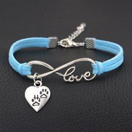 Wholesale Paw Print Australia - Unique Blue Leather Suede Bracelet Vintage Single Layer Braided Women Men Infinity Love Double Dog Paw Prints Heart Symbol Jewelry Wholesale