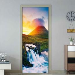 $enCountryForm.capitalKeyWord Australia - Color Mountain Waterfall Landscape 3D Self adhesive Wall Painting Waterproof Removable Door Sticker Wallpaper Living Room Decor Mural