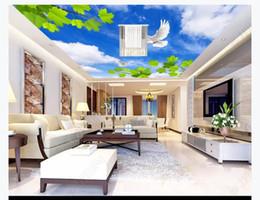 $enCountryForm.capitalKeyWord Australia - 3D ceiling large custom photo zenith mural wallpaper Blue sky white clouds green leaves white dove white dove bedroom ceiling zenith mural