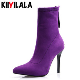 Wholesale Kiiyilala Zipper Heels10 cm Sock Boots Woman Shoes New Pointed Toe Ankle Boots For Women Short Plush Warm Woman Booties Big Size