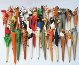 $enCountryForm.capitalKeyWord Australia - 100pcs Animal Wooden carving creative ballpoint pen wood Ball point pens handmade sculpture ball-point kindergarten Rewards Gifts Pen
