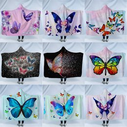 portable bedding adults Australia - Butterfly Hooded Blanket for Adult Sherpa Fleece Wearable Throw Blanket Microfiber Bedding Home children blankets