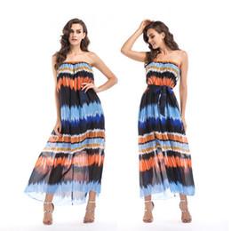 $enCountryForm.capitalKeyWord Australia - Women Chiffon Elegant Casual Dresses with Belt Wrapped Chest Spring Summer Gradient Beach Skirt for Women Floral Printed Bodycon Long Skirts