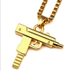 snake gun pistol Australia - Gold Chain Pistol Pendant Unisex Gold Plated Submachine Gun Pendant Chain Maxi Necklace For Men Women Hip Hop Jewelry Gifts Free shipp WL898