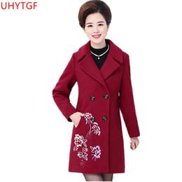 c5cd47befda16 Large size Elegant women coat Autumn Winter Fashion Woolen coat high  quality embroidered wool coats Middle-aged clothing 4xL 870