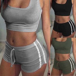 Wholesale black short suit women for sale - Group buy Women Yoga Set Female Belt Suit Set Bra Sleeveless Tank Top Shorts Fitness Running Yoga Gym Sports Clothes xy19
