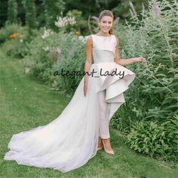 $enCountryForm.capitalKeyWord Australia - Vintage Boho Bridal Jumpsuit Wedding Dresses with Train 2019 Ruffles High Low Peplum Jewel Country Beach Wedding Jumpsuit Gown