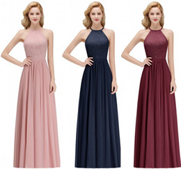 Wholesale Under Real Image Cheap Designer Blush Pink Bridesmaid Dresses Sexy Halter Lace Chiffon Floor Length Maid of Honor Gown CPS1072