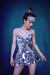 $enCountryForm.capitalKeyWord Australia - New Flashing Silver Mirrors Short Dress Prom Dress Birthday Celebrate Outfit Evening Women Singer Dance