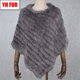 Fur Scarves Sale NZ - 2019 Hot Sale Women Real Rabbit Fur Shawl Natural Real Knitted Rabbit Fur Poncho Scarf Autumn Winter