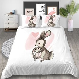 green rabbit cartoon Australia - Rabbit Cartoon Printed Bedding Set King Size Simple Cute 3D Duvet Cover Queen Lovely Home Deco Single Double Bed Cover with Pillowcase