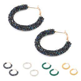 hoop earrings rhinestones 2019 - Bohemian Crystal Rhinestone Bead Fashion Hoop Earrings Women Handmade Party Earrings Charm Jewelry cheap hoop earrings r