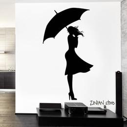 Art Love Wallpaper Australia - Sexy Girl Rain Wall Decals Autumn Love Wall Sticker For Teen Bedroom Removable Home Decoration Wall Art Mural Wallpaper