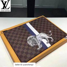 Lion mini online shopping - N63345 Pochette Jour Large Damier Ebene Checkered Animal Print Lion Pattern Clutch Long Wallet Chain Wallets Compact Purse Clutches Evening