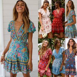 Toptan satış Seksi Wrap Tunik Plaj Yaz Elbise Kadınlar 2019 Yeni Çiçek Baskı Bohemian Boho Mini Kısa Yaz Elbise ve Sundress Kadın