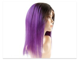 Purple Lace Front Human Hair Australia - Popular in Europe and America purple hair Full Lace wig human hair Silky Straight Hair Unprocessed Front lace Wig