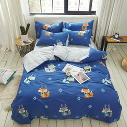 Kids Cartoon Bedding Set King Size Australia - Flamingo Deer Panda Blue Fox Duvet Cover Bedding Sets Kids Single Queen King Size Cartoon Bed Cover Bedsheets Floral Bedding Set