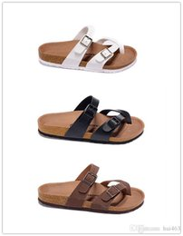 Famous male shoes online shopping - New Famous Brand Arizona Men s Flat Sandals Casual Shoes Male Double buckle Beach Summer High Quality Genuine Leather Slippers