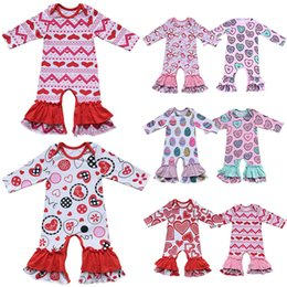 c36ba07f437 10styles Valentines Easter Baby Rompers Hearts Colorful Love Florl Ruffle  Striped Printed Newborn Girls Designer Clothing Jumpsuit WWA220